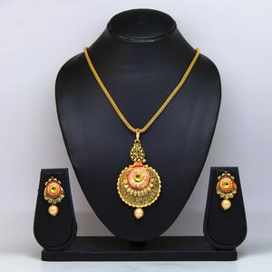 Gold Colored Pearl & Gold Finish Pendant Set