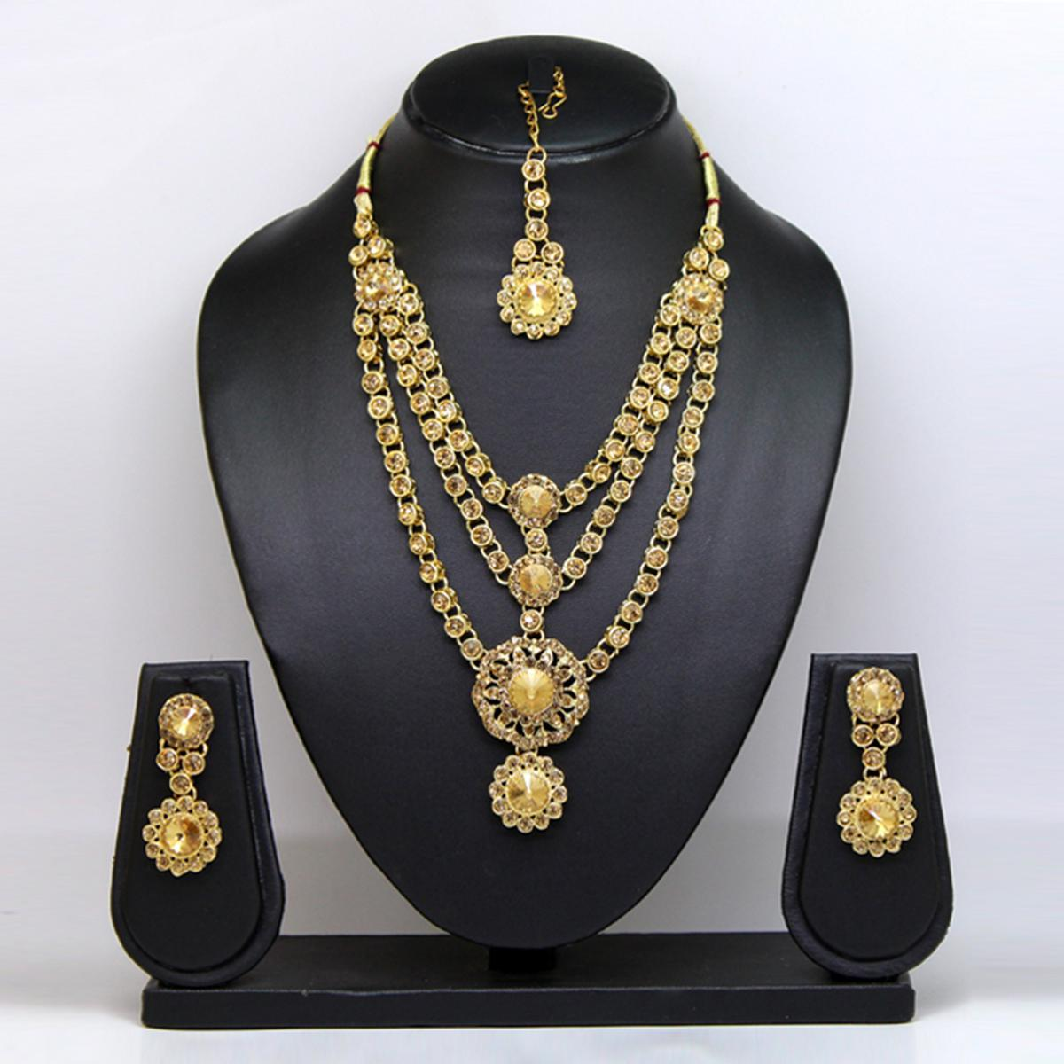 Gold Colored Imported Stone Necklace Set