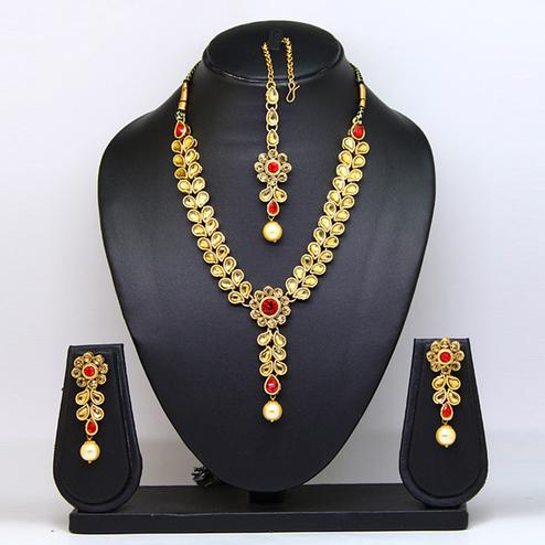 Red Colored Stone And Pearl Necklace Set