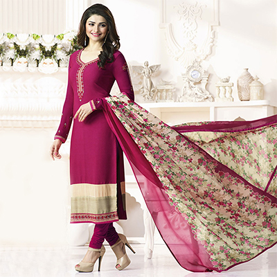 Pink Royal Crepe Designer Embroidered Partywear Salwar Suit