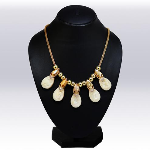 White And Golden Colored Imported Stone & Beed Western Necklace