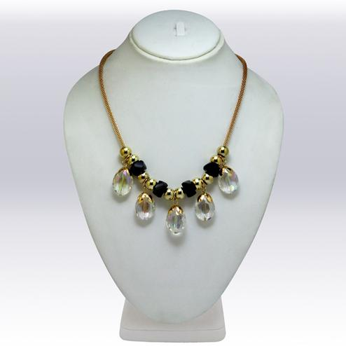Black And Golden Colored Imported Stone & Beed Western Necklace