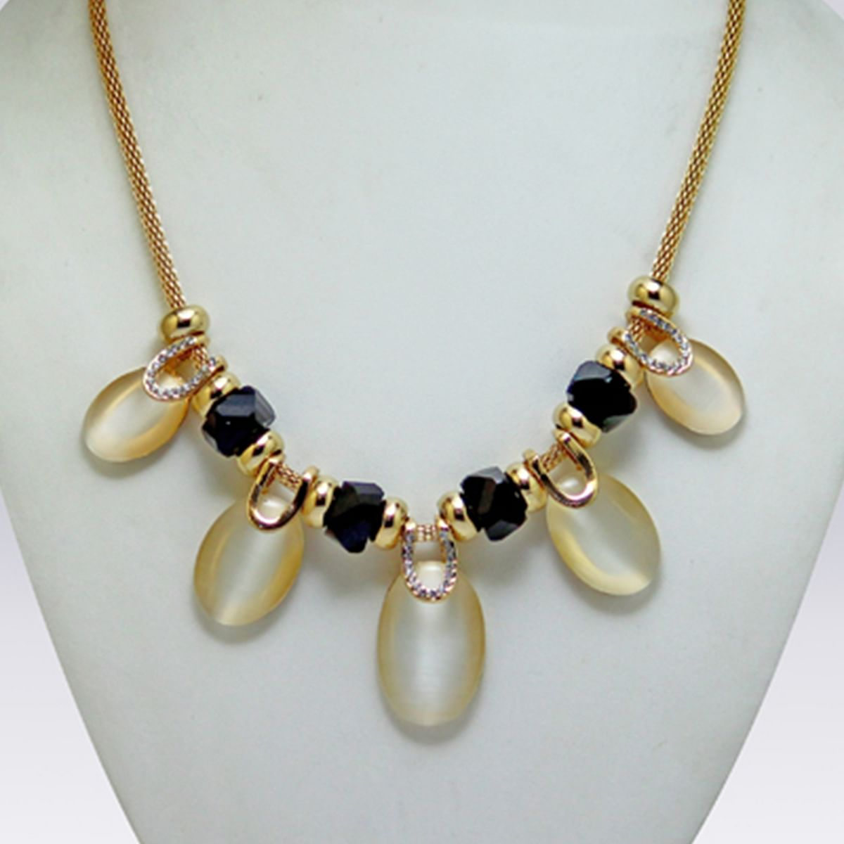 Black And Golden Colored Imported Stone Western Necklace