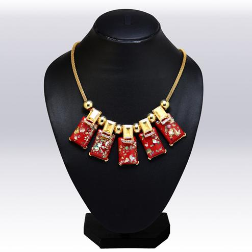Maroon And Golden Colored Imported Stone & Beed Western Necklace