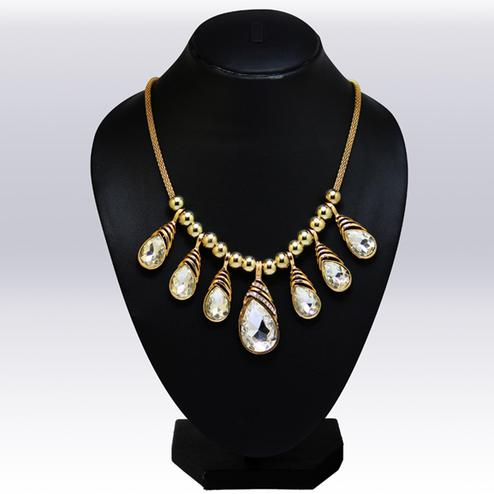 Golden Colored Imported Stone & Beed Western Necklace