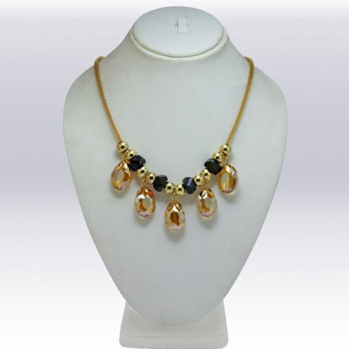 Yellow And Golden Colored Imported Stone & Beed Western Necklace