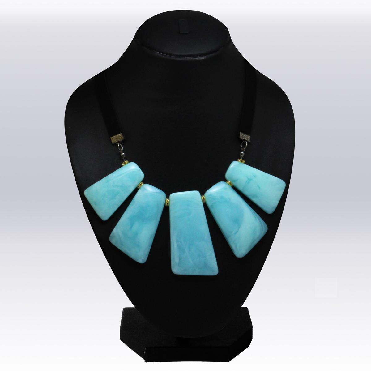 Aqua Blue Colored Imported Stone Western Necklace
