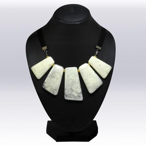 Off-white Colored Imported Stone Western Necklace