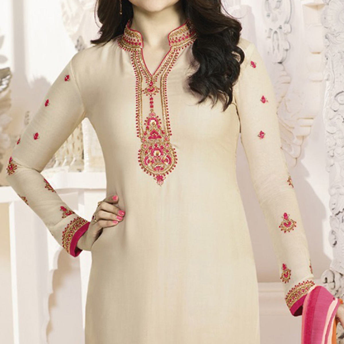 Beige Royal Crepe Designer Embroidered Partywear Salwar Suit