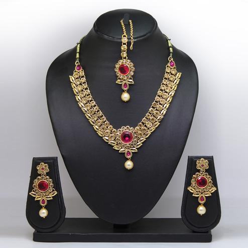 Rani Pink Colored Imported Stone Necklace Set
