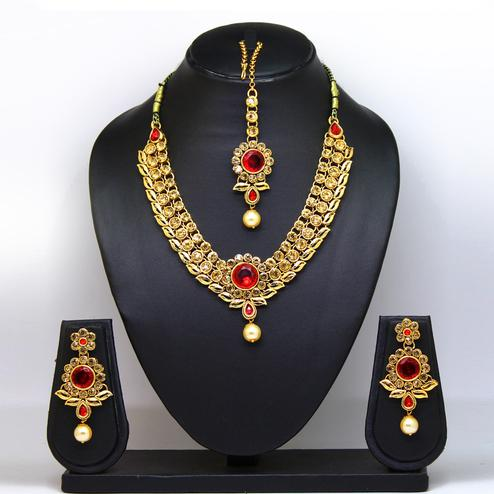 Red Colored Imported Stone Necklace Set