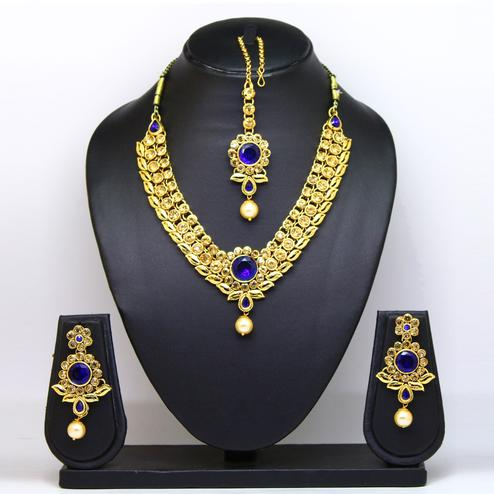 Blue Colored Imported Stone Necklace Set