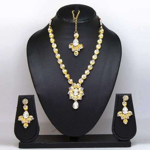 Silver Colored Stone And Gold Finish Necklace Set