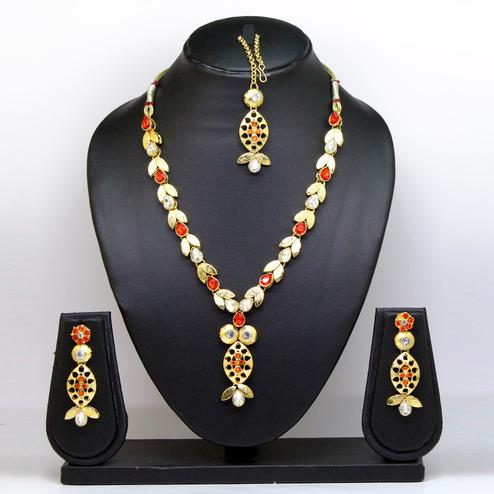 Red Colored Brass & Stone Necklace Set