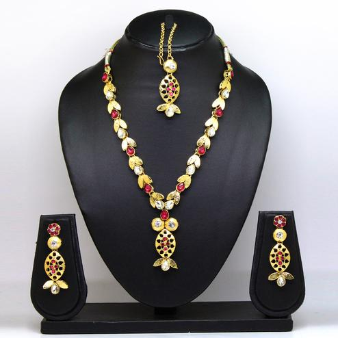 Rani Pink Colored Brass & Stone Necklace Set