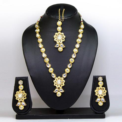 White Gold Colored Brass & Stone Necklace Set