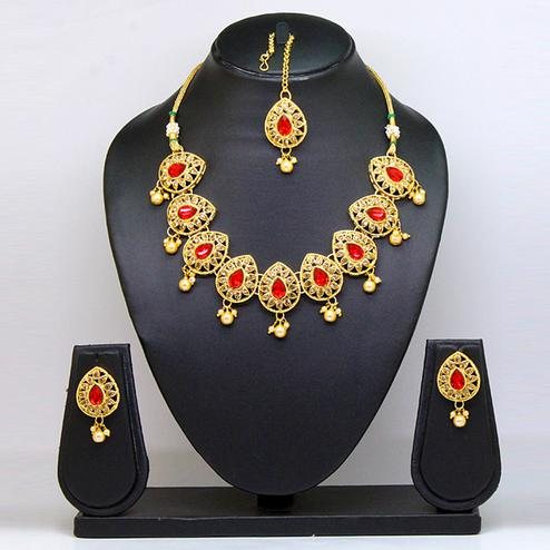 Red & Gold Colored Brass & Stone Necklace Set