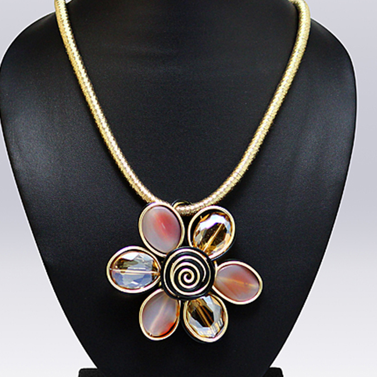 White And Beige Colored Imported Stone Western Necklace