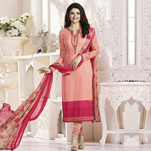 Peach Royal Crepe Designer Embroidered Partywear Salwar Suit