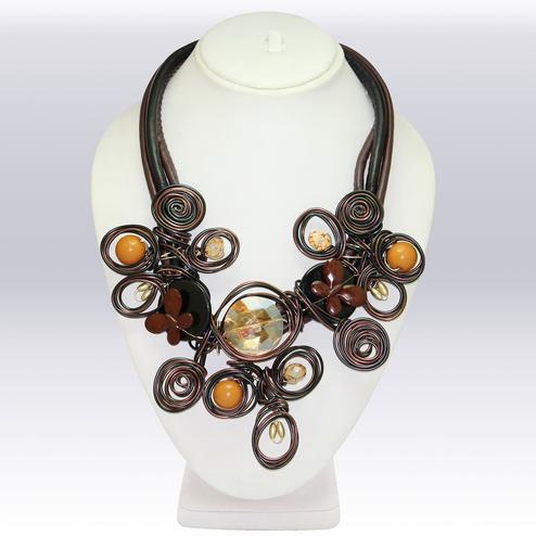 Multi Colored Imported Stone & Wire Western Necklace