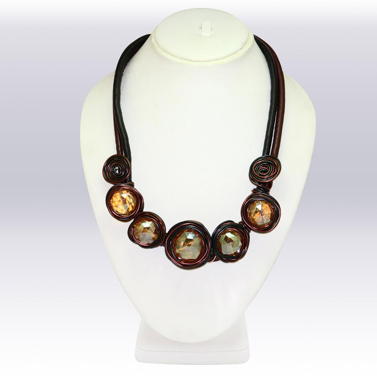 Brown Colored Imported Stone Western Necklace