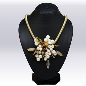 White And Golden Colored Beeds And Stone Western Necklace