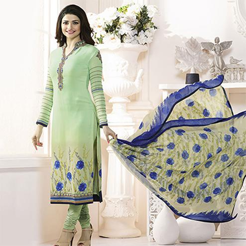 Light Green Royal Crepe Designer Embroidered Partywear Salwar Suit