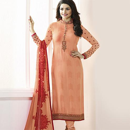 Orange Royal Crepe Designer Embroidered Partywear Salwar Suit