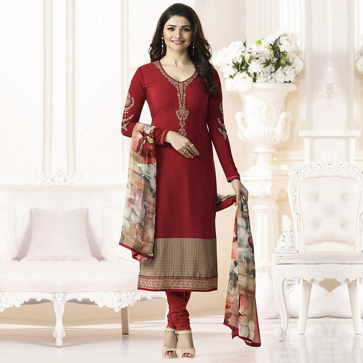 Red Royal Crepe Designer Embroidered Partywear Salwar Suit