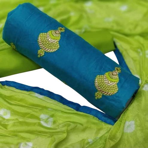 Magnetic Sky Blue Colored Partywear Chanderi Silk Dress Material