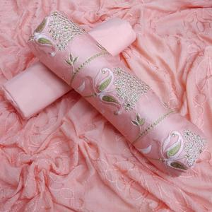Fab Peach Colored Partywear Cotton Dress Material