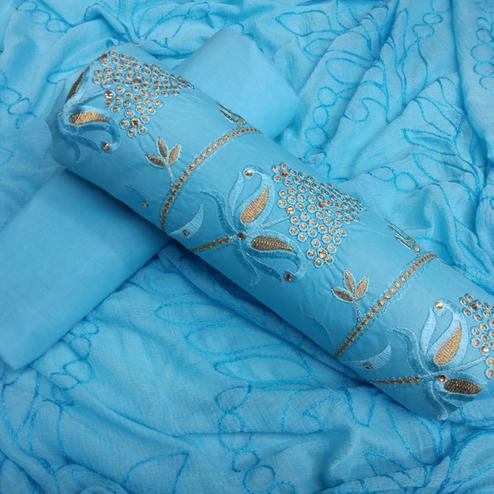 Stylish Sky Blue Colored Partywear Cotton Dress Material