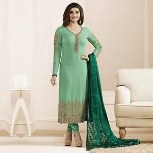 Light Green Embroidered Work Straight Cut Suit