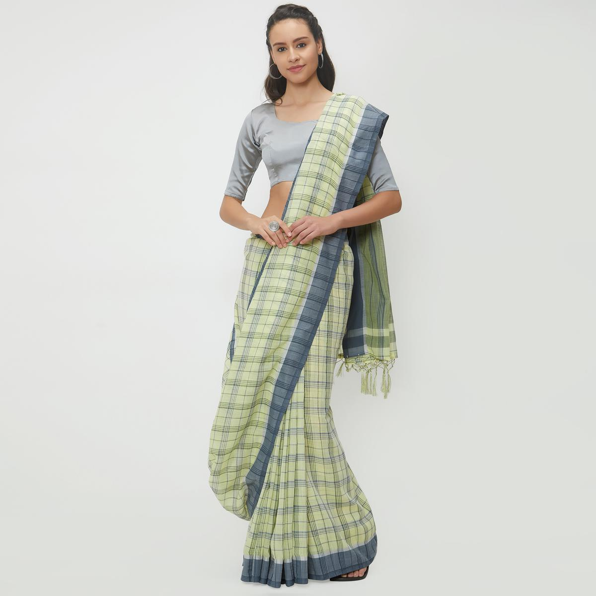 Pleasant Lemon Green Colored Casual Wear Linen Saree With 2 Blouse Pieces