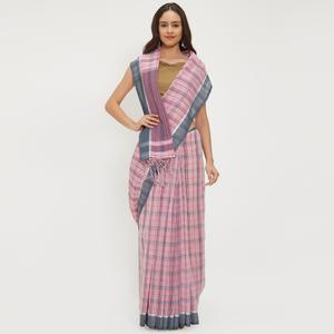 Beautiful Pink Colored Casual Wear Linen Saree With 2 Blouse Pieces
