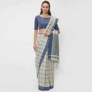 Eye-Catching Off-White Colored Casual Wear Linen Saree With 2 Blouse Pieces