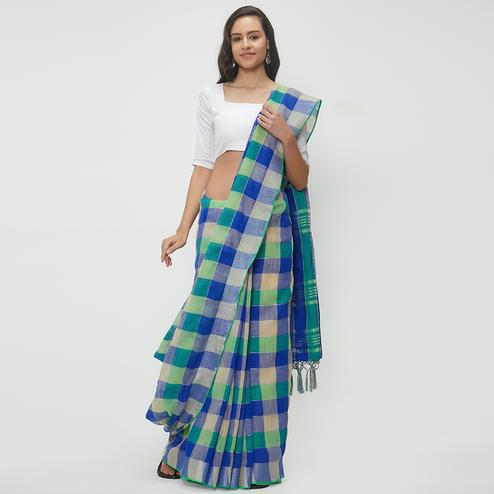 Surpassing Blue-Green Colored Casual Wear Linen Saree With 2 Blouse Pieces