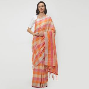 Charming Pink-Orange Colored Casual Wear Linen Saree With 2 Blouse Pieces