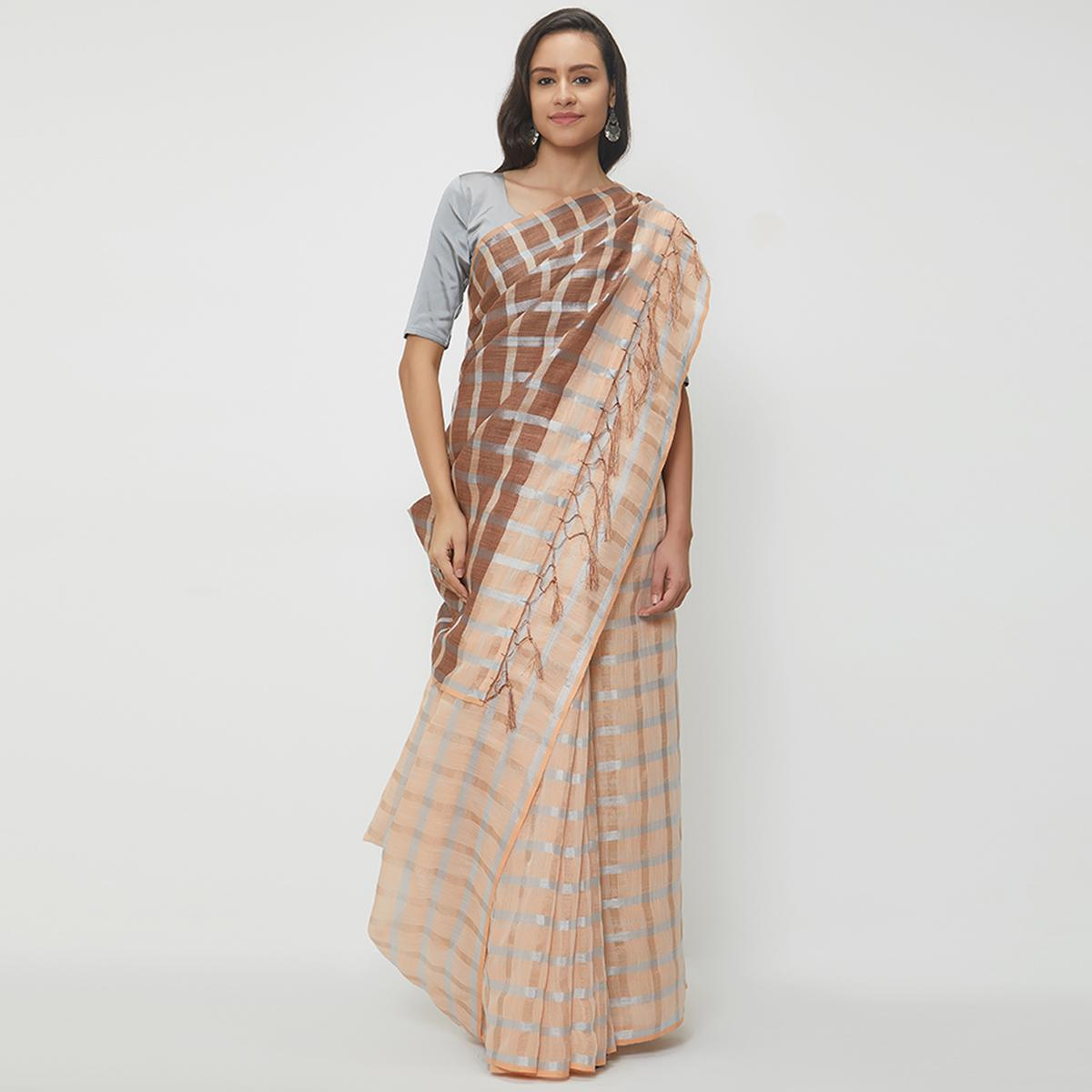 Perfect Peach Colored Casual Wear Linen Saree With 2 Blouse Pieces