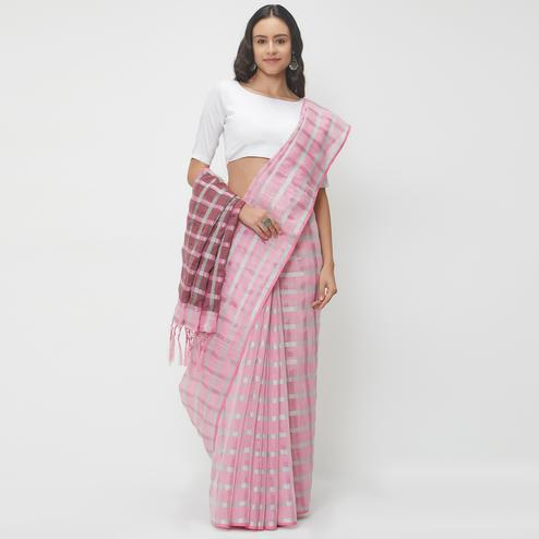 Marvellous Pink Colored Casual Wear Linen Saree With 2 Blouse Pieces