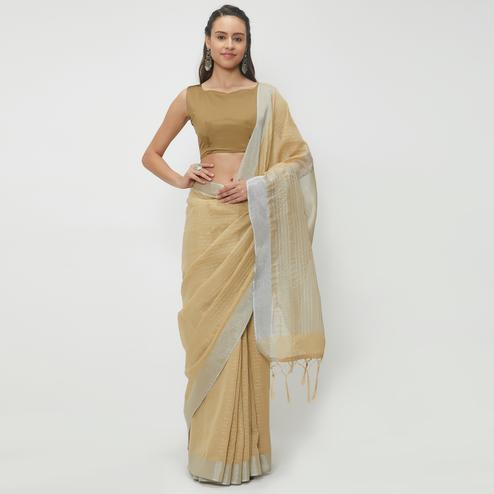 Classy Beige Colored Casual Wear Linen Saree With 2 Blouse Pieces