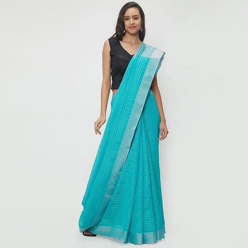 Amazing Sky Blue Colored Casual Wear Linen Saree With 2 Blouse Pieces