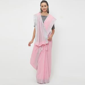 Trendy Pink Colored Casual Wear Linen Saree With 2 Blouse Pieces