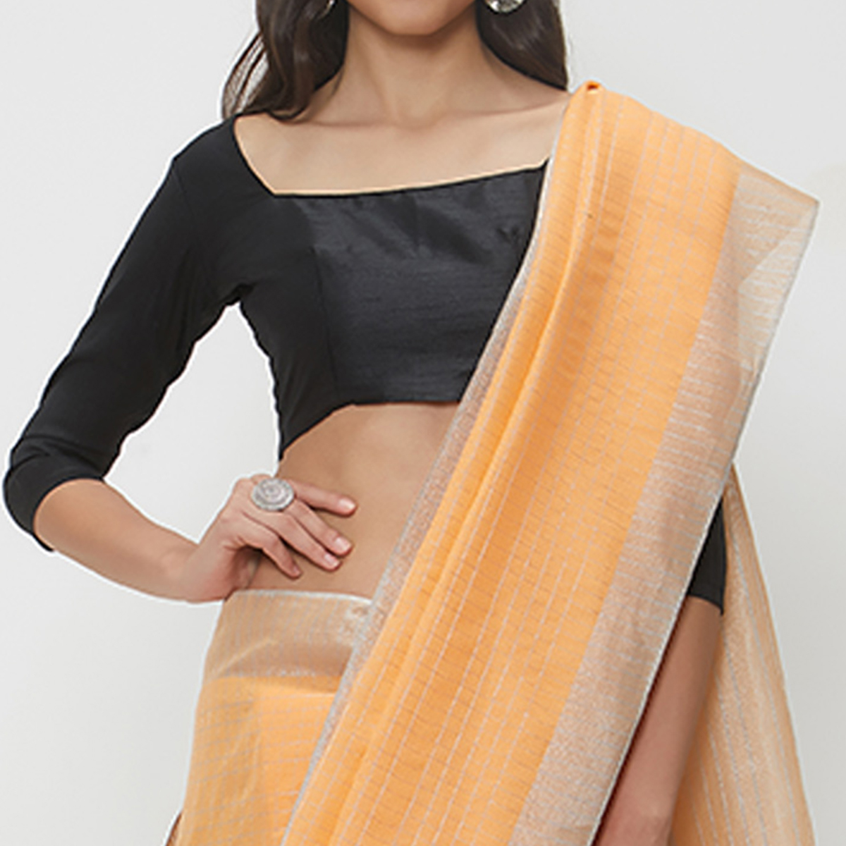 Groovy Light Orange Colored Casual Wear Linen Saree With 2 Blouse Pieces