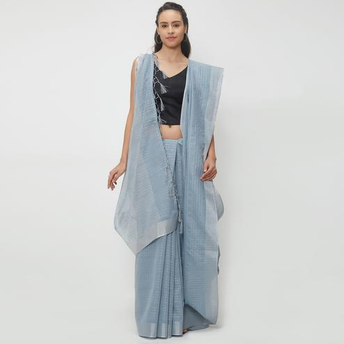 Appealing Gray Colored Casual Wear Linen Saree With 2 Blouse Pieces