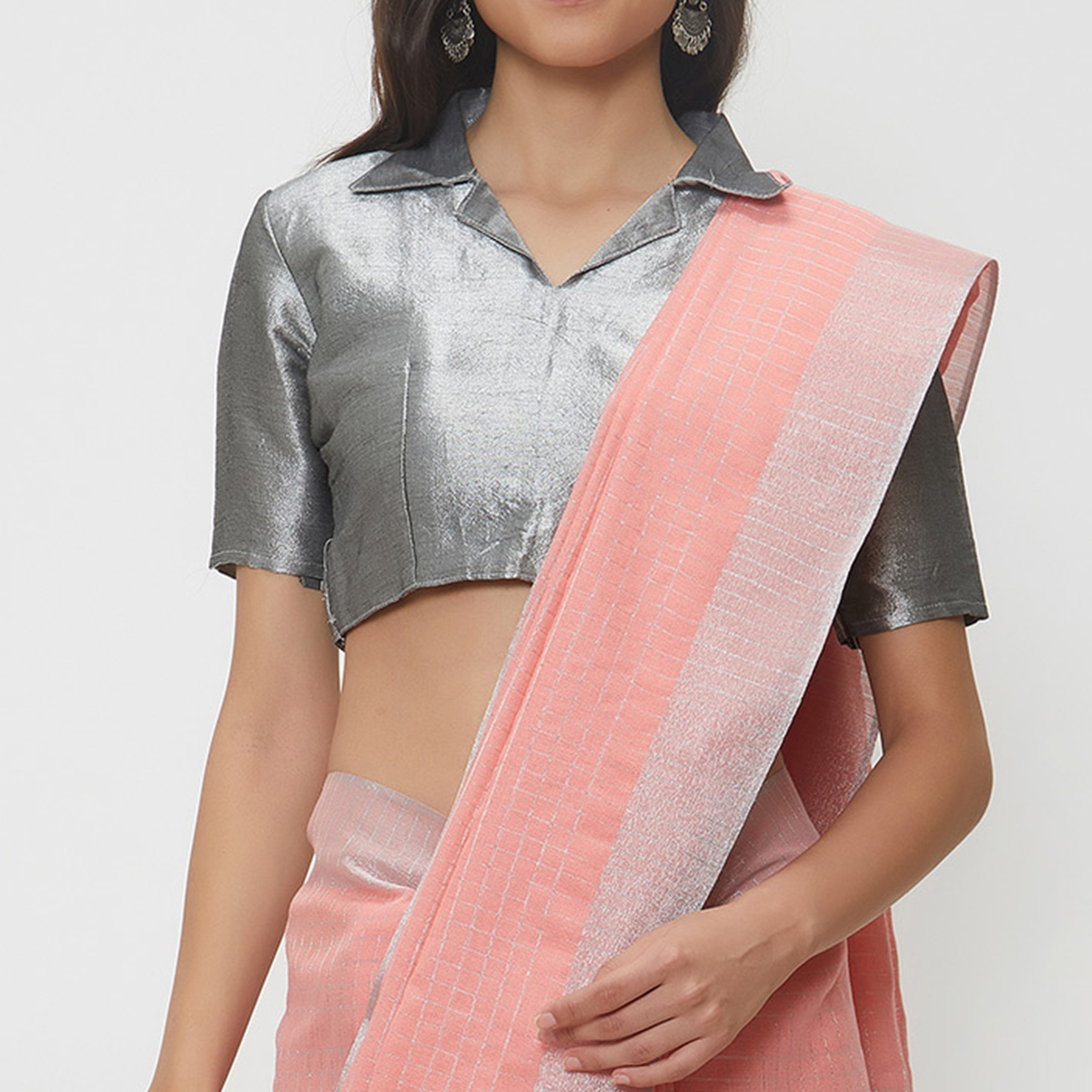 Desiring Peach Colored Casual Wear Linen Saree With 2 Blouse Pieces