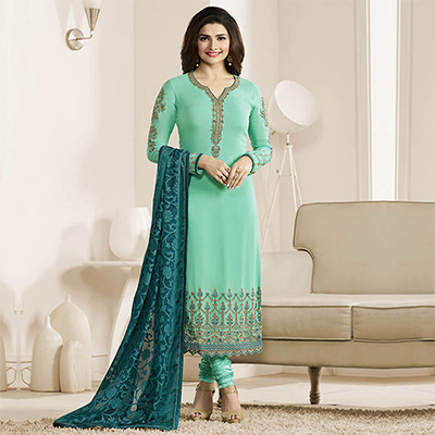 Turquoise Embroidered Work Straight Cut Suit