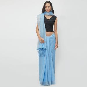 Demanding Sky Blue Colored Casual Wear Linen Saree With 2 Blouse Pieces