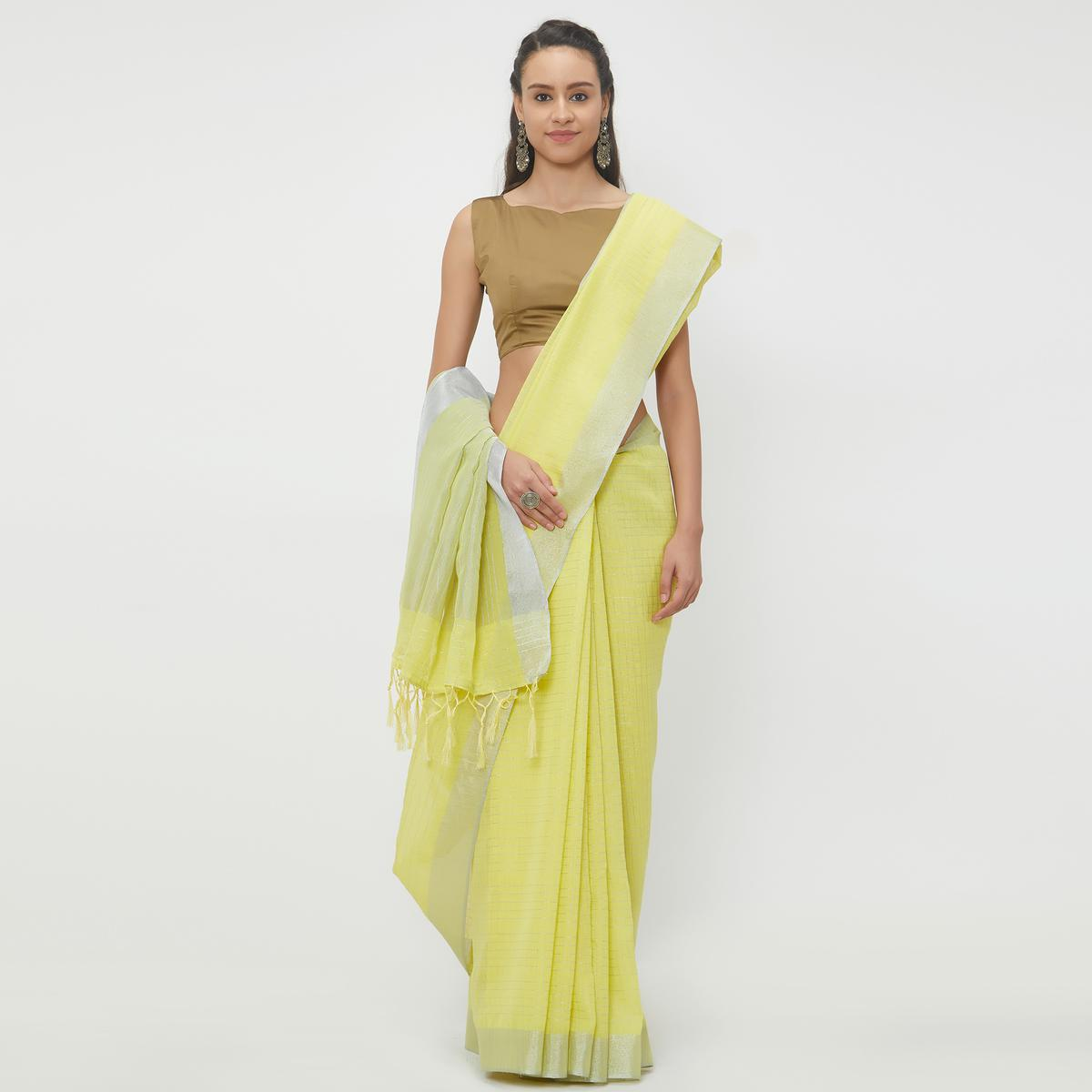 Energetic Lemon Yellow Colored Casual Wear Linen Saree With 2 Blouse Pieces
