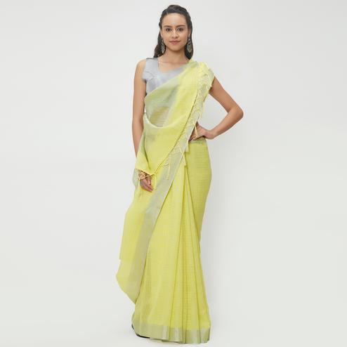 Different Lemon Yellow Colored Casual Wear Linen Saree With 2 Blouse Pieces